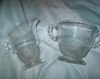 Vintage Glass, Cream & Sugar Bowl