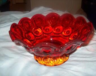 Vintage Amberina Bowl, Footed, Orange, WAS 50.00 - 50% = 25.00