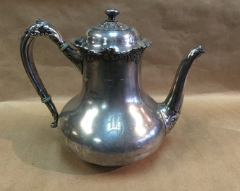 c. 1875 Reed and Barton Coffee Pot Server, quadruple silver plate. Pattern 3516
