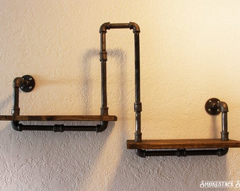 Corner Pipe Shelf - Industrial Chic - Rustic Modern - Pipe decorations - Pine Wood Shelf - Corner Shelf - Industrial Home Decor