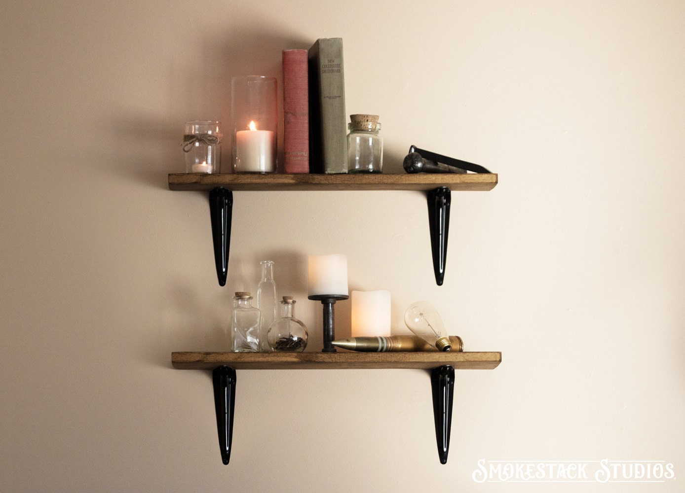 Rustic Shelves Sold Individually Simple Brackets Walnut