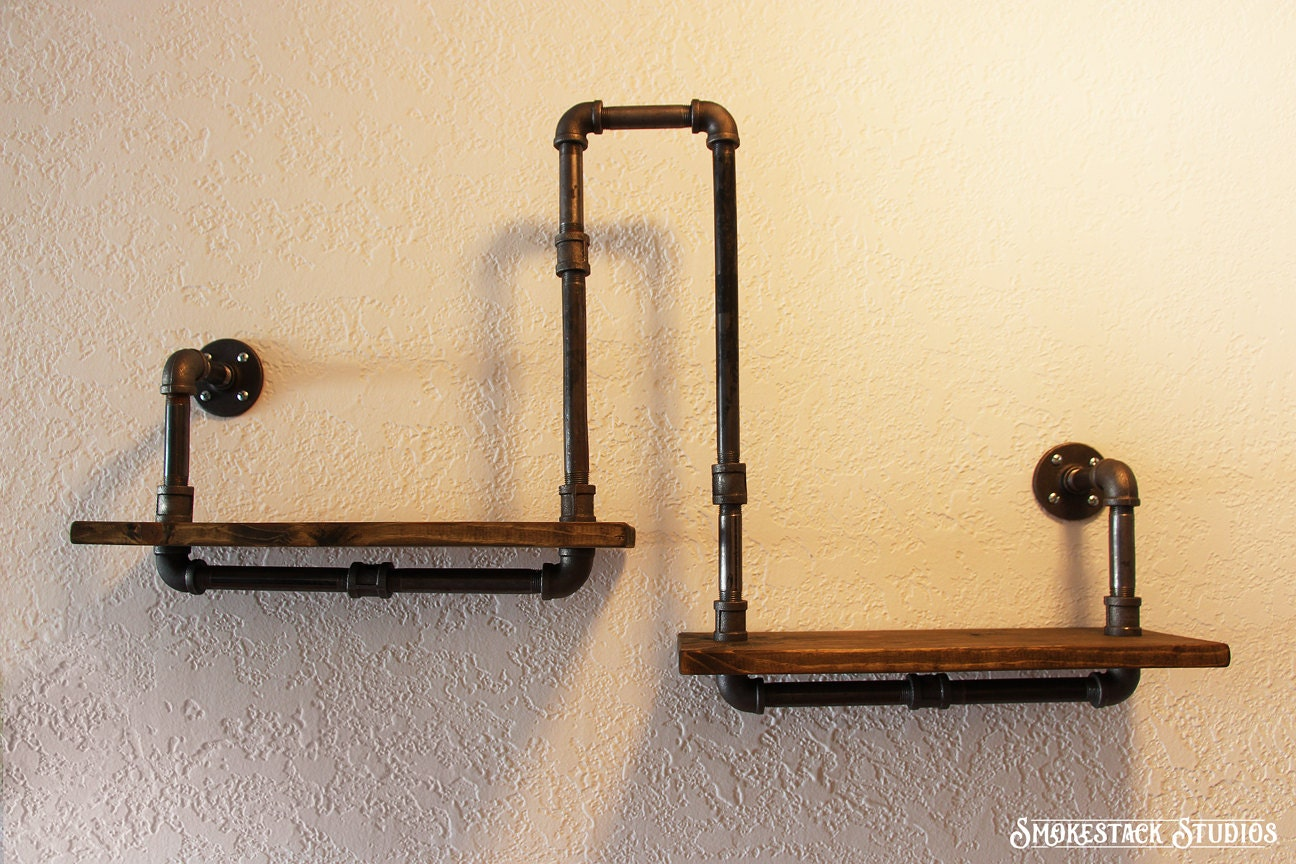 corner pipe shelf industrial chic rustic modern pipe. Black Bedroom Furniture Sets. Home Design Ideas