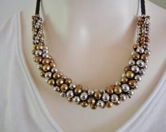 vintage Esmor necklace, Esmor copper silver necklace, Esmor copper necklace, mixed metal necklace, Esmore beaded necklace set, Esmore set