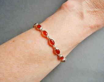 CID Duneier sterling bracelet, Clyde Duneier, vintage Clyde Duneier bracelet, CID carnelian bracelet, CID sterling bracelet, Clyde Duneier