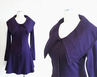 Vtg 90s Necessary Objects FIT & FLARE mini dress - LARGE collar - long sleeve - purple - sz M