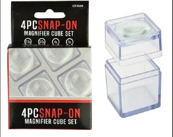 "Snap On Magnifier 4 Pc Cube Set 1.5""  2.5X, 3.5X, 4X,5X"