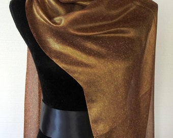 Vintage 80s Incredibly BEAUTIFUL Silk Scarf Reversible Texture Shiny Gold Glamor Sheer Loveliness One of Our Best