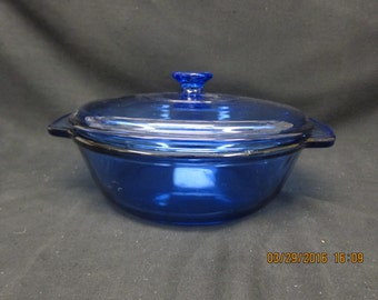 Anchor Hocking 2 Qt Blue Round Casserole with Lid