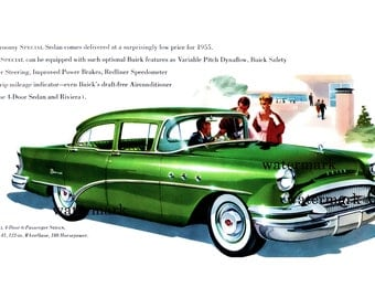 1955 Buick Sedan vintage advert 4 x 6 repro print american cars automobiles digital download .png just 49p vintage car picture american