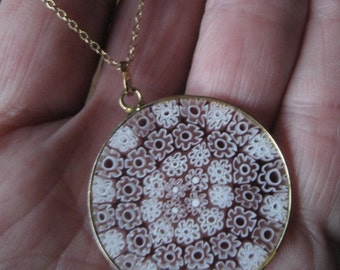 Sterling Silver Gold Plate Millefiori  Circle Glass Floral Pendant Chain (691)