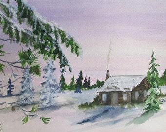 Winter Christmas Scene Original Watercolor painting