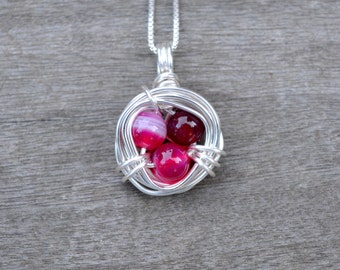 Pink Agate Bird's Nest Wire Wrapped Pendant (Free shipping in Canada!)