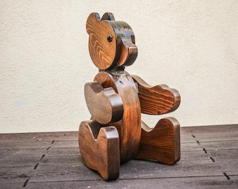 LARGE Modern Handmade Wooden Brown Bear Sculpture / Statue