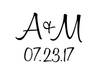 "Custom Initials and Date Rubber Stamp, wedding stamp, card stamp, invitation stamp, tag stamp, wedding favours stamp, 1.5""x1.2"" (cts105)"