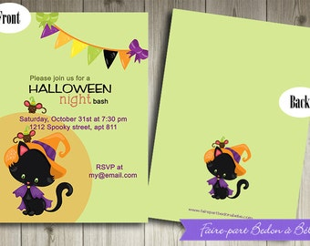 Personalized Halloween party Invitation - Digital printable file