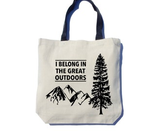 Great Outdoors Tote Bag, Screen Printed, Black Ink, Cotton Canvas Tote Bag