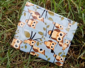 Owl Print Duct Tape Wallet with 6 Card Pockets, an ID Pocket, and a Bi-Fold