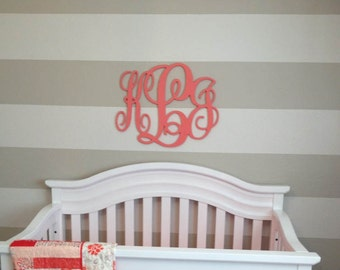 Wooden Monogram Letters - Painted Wooden Monogram - Nursery Decor - Nursery Wall Art - Wall Hanging Letters - Wood Monogram Wall Decor