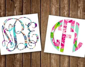 Lilly Inspired Monogram Car Decal Interlocking Vine Decal Sticker