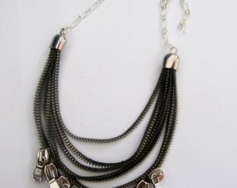 Tonefe beautiful handmade gray zipper necklace