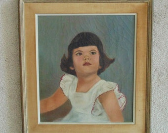 Vintage Oil Painting of Little Girl Child Portrait
