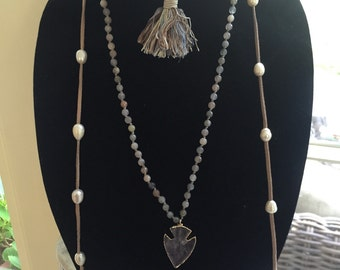 Freshwater pearl leather wrap around necklace