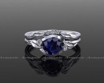 Sapphire Ring Set, Sapphire And Diamond Engagement Set, Floral Wedding Set, 14K White Gold Engagement Ring Set, RE179B