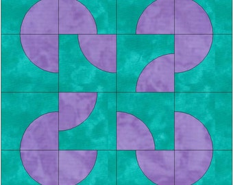 Fool's Puzzle / Drunkard's Path Block Paper Templates Quilting Block Pattern PDF