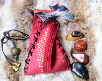 8 Crystal Tumbled Stone Chakra Pouch .:. incl Healer's Gold, Extra Quality Lapis Lazuli, Red Tiger Jasper, Gold Tiger Eye, Chrysocolla ...