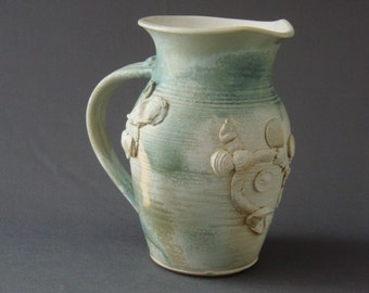 Coastal Shell Seaweed Handmade Stoneware Pottery Pitcher 1 Qt All clay (even the shells)
