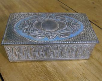 Silver coloured metal cigar box