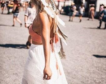 Gypsy Feather Headband, Bridal headpiece