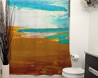 Dockweiler Beach Printed Shower Curtain. Bathroom Decor, Home Decor, Abstract Art, Modern Art, Beach Painting, California, Turquoise, Sand