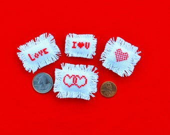 Set of Four Dollhouse Miniature Red Heart Valentines Day Pillows
