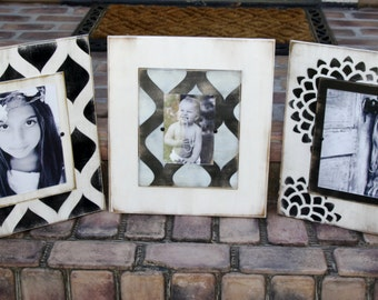 Picture frame grouping; set of 3 handmade distressed picture frames; two 8x10 and one 5x7 photo frame; black and white distressed frames