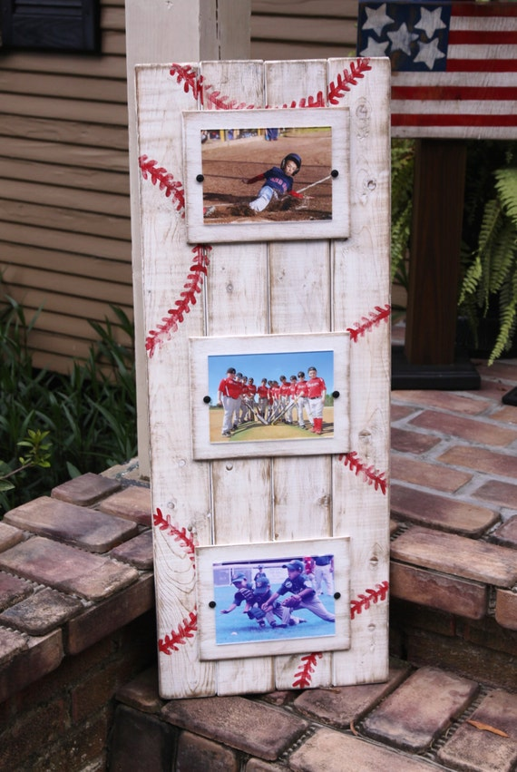 Plank picture frame sports themed plank frame baseball for Picture frame decorating ideas for kids