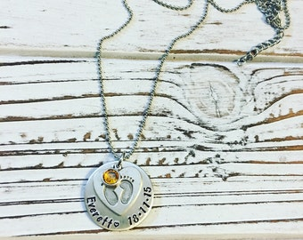 Little feet personalized, hand stamped necklace
