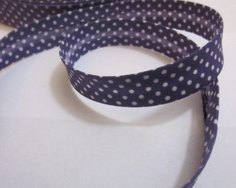 Cotton bias tape 18 mm polka dots, spotted purple