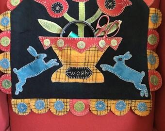 Folk art wool appliqué basket of tulips