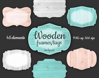 Wooden frame, tag, label clipart. 48 various digital mint, gray, light brown wooden frames clip art. Instant download in PNG format.