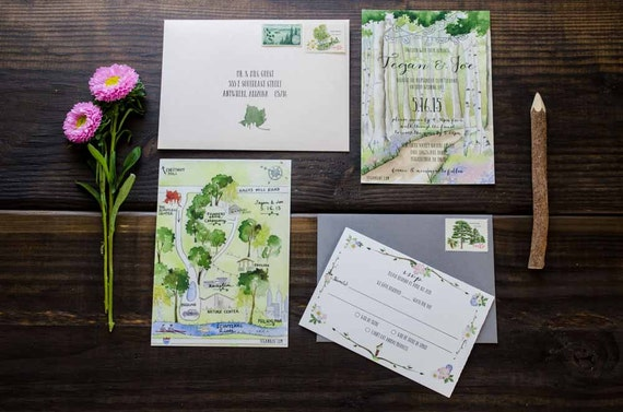 Nature Themed Wedding Invitations Nature Inspired Wedding Invitation Custom By TyingTheKnots