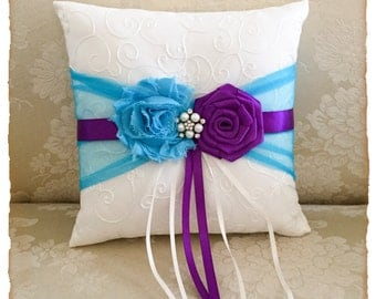 Turquoise and Purple Ring Bearer Pillow, Wedding Ring Bearer Pillow, Ring Bearer Pillow, Wedding Accessories, Custom Color Wedding Pillow