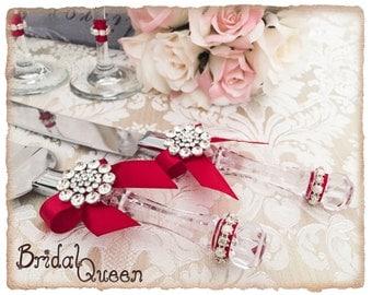 Cake Serving Set Cutting Set Knife Set Wedding Cake Serving Set Wedding Cake Server Set Red Rhinestone Cake Set