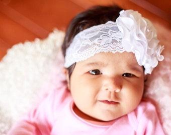 White Lace Headband, White Headband, Girl's Headband White, Baptism Headband, Satin Rosette Headband, Baby Headband, Toddler Headband
