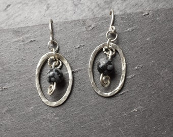 Sterling Silver Snowflake Obsidian Earrings