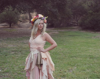 Blush Pink Upcycled Fairy Skirt Bustle