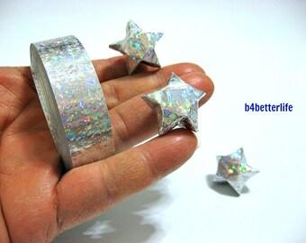 70 Strips of Silver Color DIY Origami Paper Stars Kit For Big Lucky Stars. 50cm x 1.8cm. (4D Glittering paper series). #SPK-175.