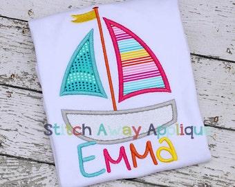 Sail Boat Summer Beach Nautical Machine Applique Design