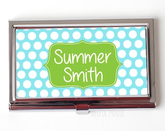 Personalized Business Card Case - Blue Pastel Business Card Holder - Personalized Business Card Case