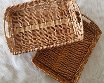 New Large Rectangle Willow Tray Basket *Baby Newborn Photo Prop Accessory